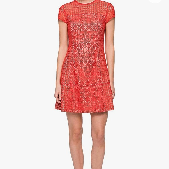 NWT Jessica Simpson Red Mixed Lace Shift Dress